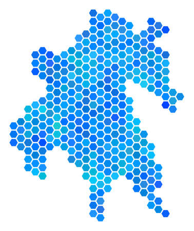 Hexagon Blue Peloponnese Half-Island Map. Vector geographic map in cold color hues on a white background. Illustration