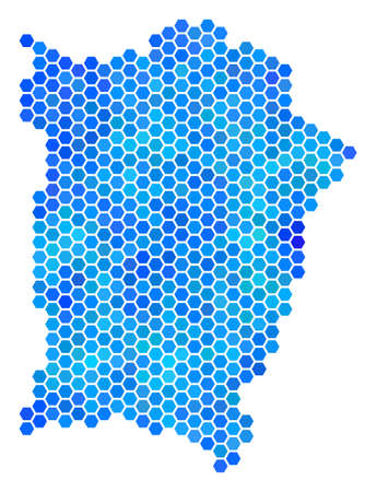 Hexagon Blue Penang Island Map. Vector geographic map in cold color shades on a white background. Blue vector mosaic of Penang Island Map combined of hexagon pixels.