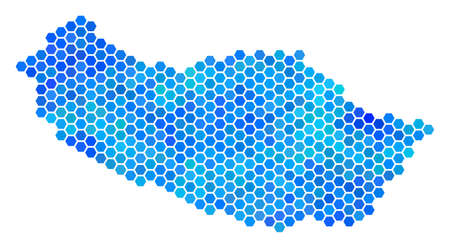 Hexagon Blue Portugal Madeira Island Map. Vector geographic map in blue color tones on a white background. Blue vector concept of Portugal Madeira Island Map organized of hexagonal blots.
