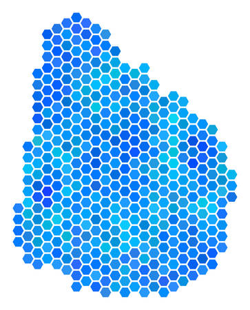 Hexagon Blue Uruguay Map. Vector geographic map in blue color tinges on a white background. Blue vector pattern of Uruguay Map constructed of hexagon blots.