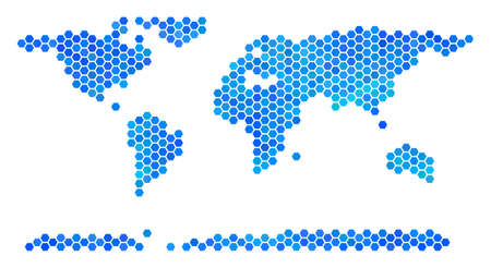 Blue Hexagon World Continent Map. Vector geographic map in cold color tones on a white background. Blue vector collage of World Continent Map organized of hexagonal blots.
