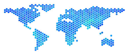 Blue Hexagon World Map Vector Geographic Map In Blue Color Tones - World map in blue color