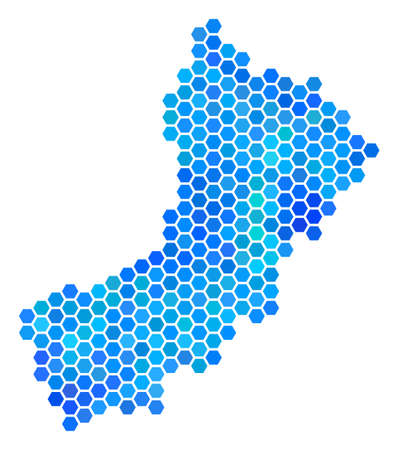 Blue Hexagon Yemen Map. Vector geographic map in cold color tints on a white background. Blue vector concept of Yemen Map designed of hexagon dots. Illustration