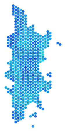 Hexagon Blue Phuket Map. Vector geographic map in cold color hues on a white background. Blue vector concept of Phuket Map constructed of hexagonal dots. 向量圖像