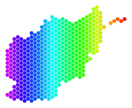 Hexagon spectrum Afghanistan Map. Vector geographic map in bright colors on a white background. Spectrum has horizontal gradient. Color vector mosaic of Afghanistan Map done of hexagonal items.