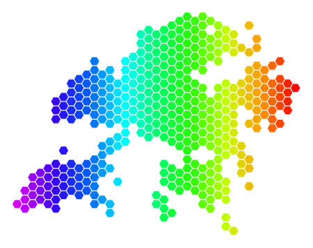 Spectrum Hexagonal Hong Kong Map. Vector geographic map in bright colors on a white background. Spectrum has horizontal gradient. Color vector collage of Hong Kong Map combined of hexagon blots.