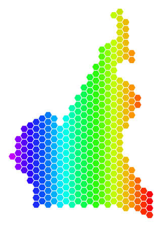 Hexagon spectrum African Cameroon Map. Vector geographic map in bright colors on a white background. Spectrum has horizontal gradient.