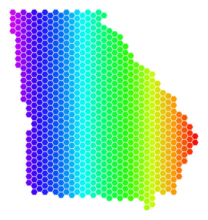 Hexagon spectrum American State Georgia Map. Vector geographic map in bright colors on a white background. Spectrum has horizontal gradient. Illustration