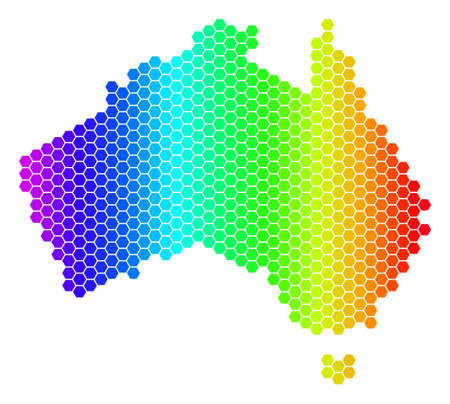 Spectrum Hexagonal Australia Map. Vector geographic map in bright colors on a white background. Spectrum has horizontal gradient. Illustration