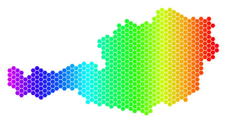 Hexagon spectrum Austria Map. Vector geographic map in bright colors on a white background. Spectrum has horizontal gradient. Colored vector concept of Austria Map created of hexagon pixels. 向量圖像
