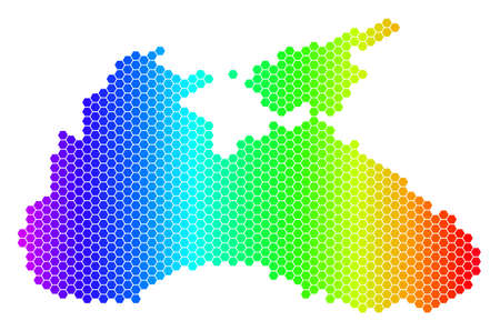 Hexagon spectrum Black Sea Map. Vector geographic map in bright colors on a white background. Spectrum has horizontal gradient. Color vector mosaic of Black Sea Map created of hexagonal pixels. 向量圖像