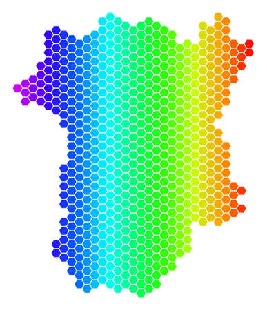Hexagon spectrum Chechnya Map. Vector geographic map in bright colors on a white background. Spectrum has horizontal gradient. Colored vector collage of Chechnya Map done of hexagon blots. 向量圖像