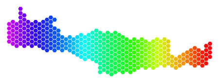 Spectrum Hexagonal Crete Island Map. Vector geographic map in bright colors on a white background. Spectrum has horizontal gradient. Illustration
