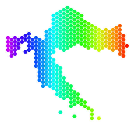Hexagon spectrum Croatia Map. Vector geographic map in bright colors on a white background. Spectrum has horizontal gradient. Color vector concept of Croatia Map composed of hexagon pixels.