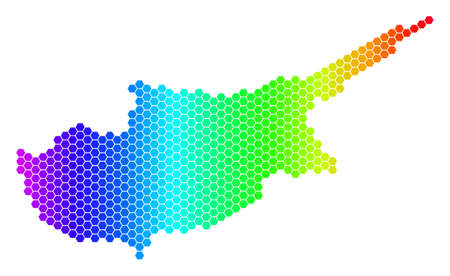 Hexagon spectrum Cyprus Countries Map. Vector geographic map in bright colors on a white background. Spectrum has horizontal gradient.