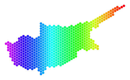 Hexagon spectrum Cyprus Island Map. Vector geographic map in bright colors on a white background. Spectrum has horizontal gradient. Illustration