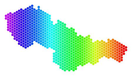 六角形スペクトルチェコスロバキアマップ。白い背景に明るい色のベクター地理マップ。スペクトルには水平方向のグラデーションがあります。
