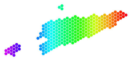 Hexagon spectrum East Timour Map. Vector geographic map in bright colors on a white background. Spectrum has horizontal gradient. Colorful vector concept of East Timour Map created of hexagon items.