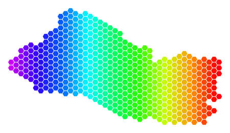 Spectrum Hexagonal El Salvador Map. Vector geographic map in bright colors on a white background. Spectrum has horizontal gradient. Color vector mosaic of El Salvador Map constructed of hexagon blots.