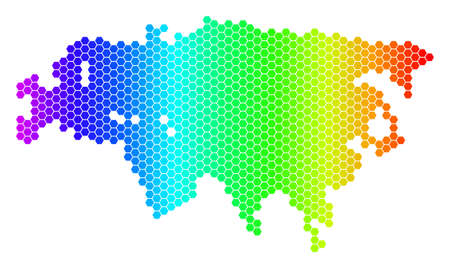 Hexagon spectrum Eurasia Map. Vector geographic map in bright colors on a white background. Spectrum has horizontal gradient. Multicolored vector concept of Eurasia Map composed of hexagonal items.
