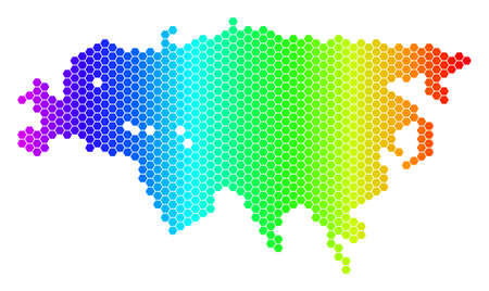 Hexagon spectrum Europe And Asia Map. Vector geographic map in bright colors on a white background. Spectrum has horizontal gradient. Illustration