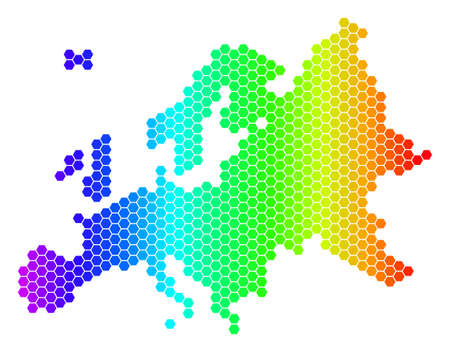 Hexagon spectrum Europe Map. Vector geographic map in bright colors on a white background. Spectrum has horizontal gradient. Multicolored vector mosaic of Europe Map combined of hexagonal blots.