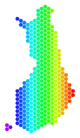 Spectrum Hexagonal Finland Map. Vector geographic map in bright colors on a white background. Spectrum has horizontal gradient.