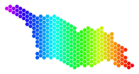 Hexagon spectrum Georgia Map. Vector geographic map in bright colors on a white background. Spectrum has horizontal gradient.