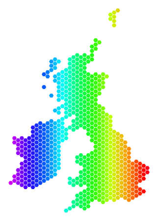 Hexagon spectrum Great Britain And Ireland Map. Vector geographic map in bright colors on a white background. Spectrum has horizontal gradient.
