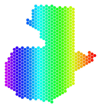 Hexagon spectrum Guatemala Map. Vector geographic map in bright colors on a white background. Spectrum has horizontal gradient. Colorful vector mosaic of Guatemala Map organized of hexagonal elements.