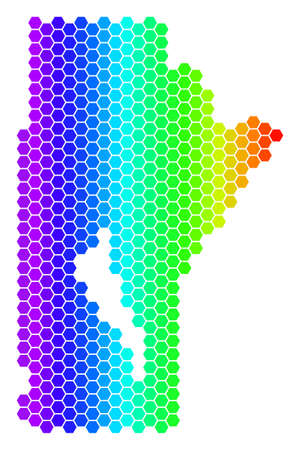 Spectrum Hexagonal Manitoba Province Map. Vector geographic map in bright colors on a white background. Spectrum has horizontal gradient.