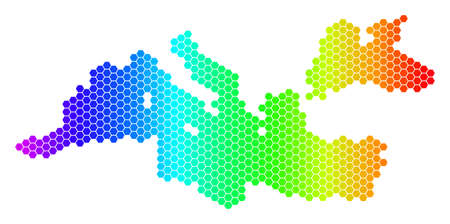 Hexagon spectrum Mediterranean Sea Map. Vector geographic map in bright colors on a white background. Spectrum has horizontal gradient.