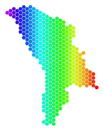 Hexagon spectrum Moldova Map. Vector geographic map in bright colors on a white background. Spectrum has horizontal gradient. Multicolored vector concept of Moldova Map done of hexagon blots.