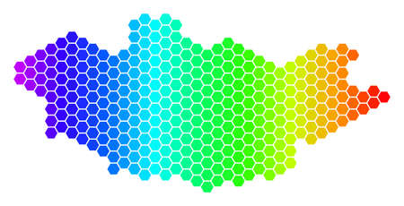 Hexagon spectrum Mongolia Map. Vector geographic map in bright colors on a white background. Spectrum has horizontal gradient. Color vector collage of Mongolia Map created of hexagonal spots.