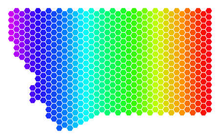 Spectrum Hexagonal Montana State Map. Vector geographic map in bright colors on a white background. Spectrum has horizontal gradient. Illustration