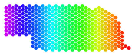 Hexagon spectrum Nebraska State Map. Vector geographic map in bright colors on a white background. Spectrum has horizontal gradient. Illustration
