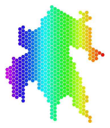 Hexagon spectrum Peloponnese Half-Island Map. Vector geographic map in bright colors on a white background. Spectrum has horizontal gradient.