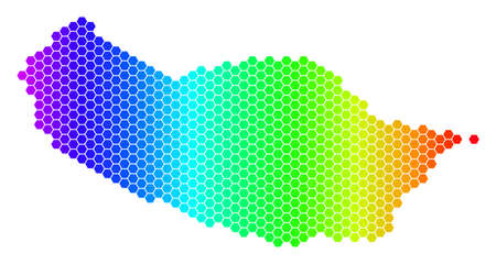 Spectrum Hexagonal Portugal Madeira Island Map. Vector geographic map in bright colors on a white background. Spectrum has horizontal gradient.