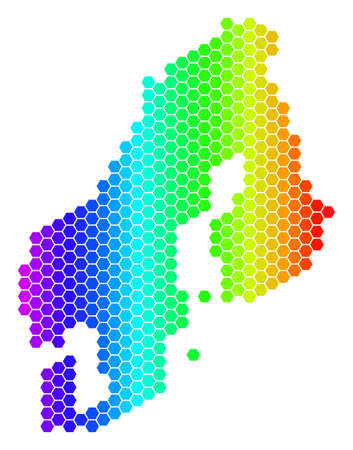Spectrum Hexagonal Scandinavia Map. Vector geographic map in bright colors on a white background. Spectrum has horizontal gradient.  イラスト・ベクター素材