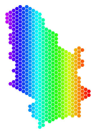 Spectrum Hexagonal Serbia Map. Vector geographic map in bright colors on a white background. Spectrum has horizontal gradient. Colorful vector mosaic of Serbia Map created of hexagon items.