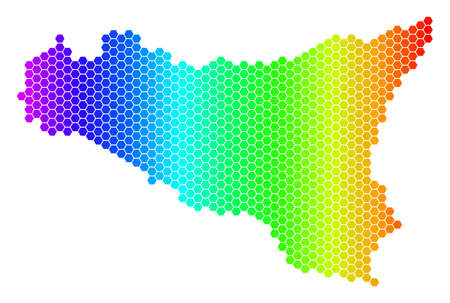 Hexagon spectrum Sicilia Map. Vector geographic map in bright colors on a white background. Spectrum has horizontal gradient. Multicolored vector composition of Sicilia Map done of hexagonal dots.