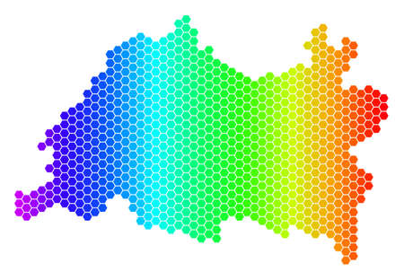 Hexagon spectrum Tatarstan Map. Vector geographic map in bright colors on a white background. Spectrum has horizontal gradient. Colorful vector collage of Tatarstan Map organized of hexagonal spots.