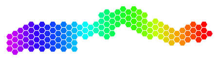 Spectrum Hexagonal The Gambia Map. Vector geographic map in bright colors on a white background. Spectrum has horizontal gradient.