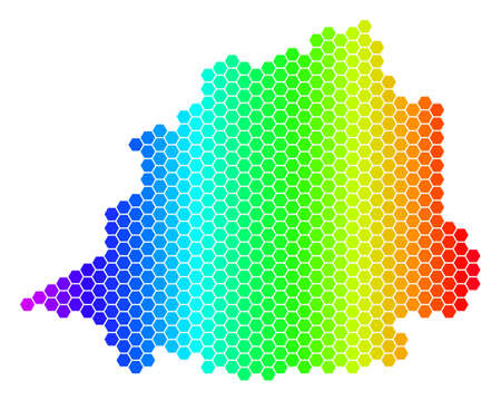 Hexagon spectrum Vatican Map. Vector geographic map in bright colors on a white background. Spectrum has horizontal gradient. Color vector pattern of Vatican Map made of hexagon pixels.
