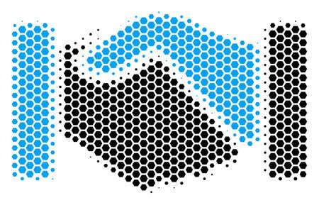Halftone hexagonal Acquisition Handshake icon. Pictogram on a white background. Vector composition of Acquisition handshake icon done of hexagon elements. 일러스트