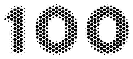 Halftone hexagonal 100 Text icon. Pictogram on a white background. Vector pattern of 100 text icon done of hexagonal pixels.