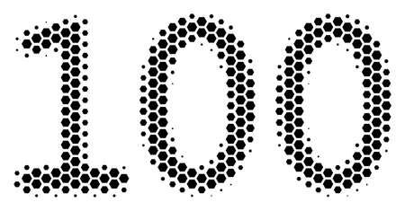 Halftone hexagonal 100 Text icon. Pictogram on a white background. Vector mosaic of 100 text icon created of hexagon elements.
