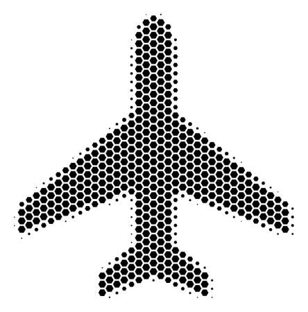 Halftone hexagonal Air Plane icon. Pictogram on a white background. Vector collage of air plane icon done of hexagon dots.