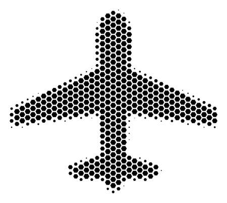 Halftone hexagon Airplane icon. Pictogram on a white background. Vector concept of airplane icon designed of hexagon spots.