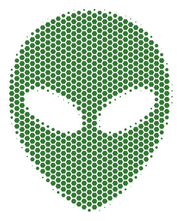 Halftone hexagonal Alien Face icon. Pictogram on a white background. Vector collage of alien face icon made of hexagonal dots.